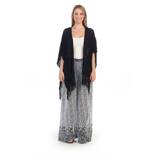 Hadari Women's Black Knit Fringe Cardigan