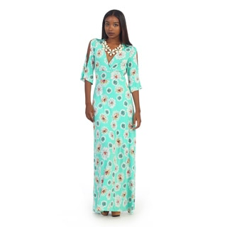 Hadari Women's Floral Print 3/4-sleeve Maxi Dress