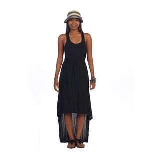 Hadari Women's Black Scoop Neck High-low Dress