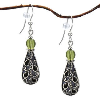 Jewelry by Dawn Antiqued Puffed Teardrop Olive Green Dangle Earrings