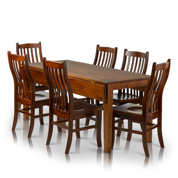 Knight Home Drop Leaf Rectangle Solid Maple Table And Side Chairs Set