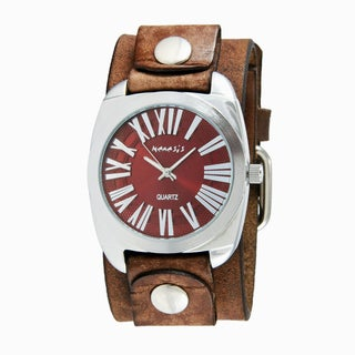Nemesis Men's Red Retro Roman Silvertone and Brown Leather Watch