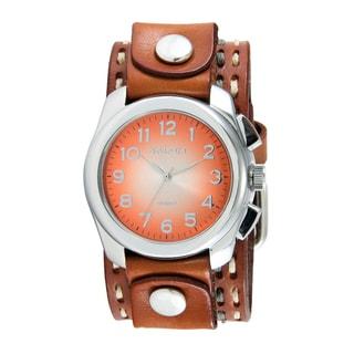 Nemesis Men's Dark Brown Double Stitched Leather Orange Oval Gradient Watch