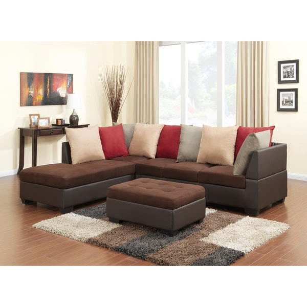 Microfiber Sectional Sofa with Scatter back Pillows