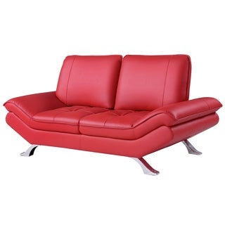 Red Bonded Leather Loveseat with Adjustable Backrest