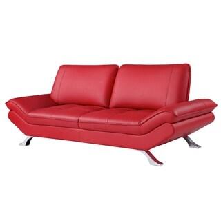 Red Bonded Leather Sofa with Adjustable Backrest