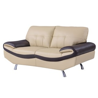 Cappuccino and Chocolate Bonded Leather Loveseat