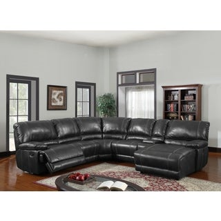 Black Bonded Leather Sectional Sofa