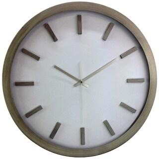 Bold Modern Minimalist 18-inch Silvertone Swiss Rail Road Wall Clock