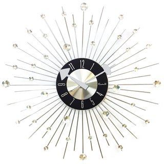 HGTV 20-inch Mid-century Modern Bling Crystal Jewels Wall Clock