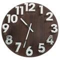 Charle Wood Grain 3D Silvertone Numeral Clock