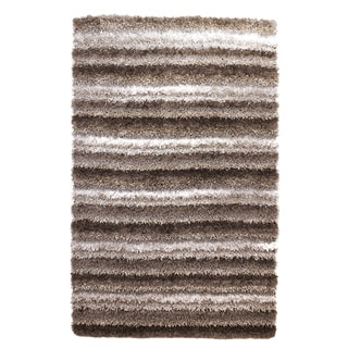 Signature Designs by Ashley Wilkes Grey Striped Wool Shag Rug (5' x 7'6)