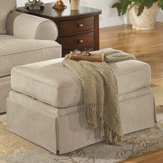 Signature Design by Ashley 'Candlewick' Linen Ottoman