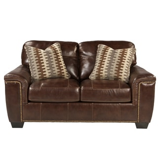 Signature Design by Ashley Tivona Coffee Leather Loveseat