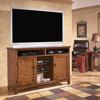 Signature Designs by Ashley 'Cross Island' Brown Oak Tall TV Stand