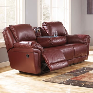 Signature Design by Ashley Magician DuraBlend Garnet Reclining Sofa with Drop Down Table