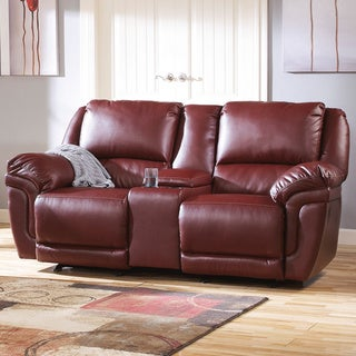 Signature Design by Ashley Magician DuraBlend Garnet Glider Reclining Loveseat with Console
