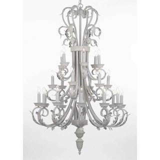 Wrought Iron 24-light White Foyer / Entryway Chandelier