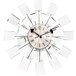 George Nelson 20-inch Mid-century Modern Glass Mirror Wall Clock
