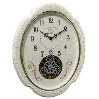 Traditional Antiqued White Rotating Gear Wall Clock