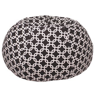 Medium/ Tween 100-percent Cotton Gotcha Black and White Hatch Pattern Print Bean Bag