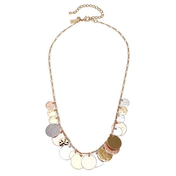 kate spade Gold Overlay Hammered Medallion Cluster Necklace