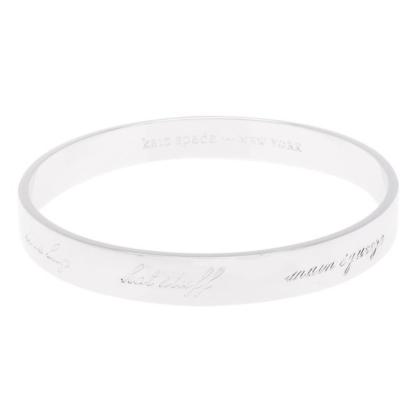 kate spade Silvertone Rhodium-plated Valentines Engraved Bangle