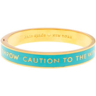 Kate Spade Goldplated 'Throw Caution to the Wind' Pool Blue Enamel Hinged Bracelet