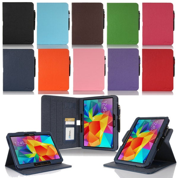 rooCASE Dual View Folio Faux Leather Cover Stand with Stylus for Samsung Galaxy Tab 4 10.1 SM-T530 F