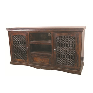 Joy Kiln-dried Acacia Wood/ Iron Jali TV Stand