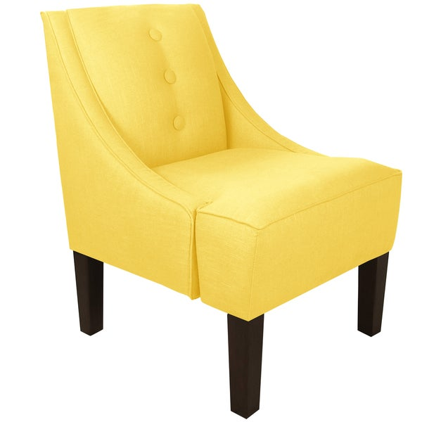skyline furniture three button swoop arm chair in twill light yellow