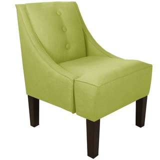 Made to Order Green Three Button Swoop Arm Chair with Button Embellishments