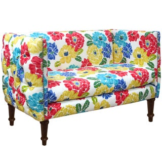 Made To Order Floral Nail Button Tufted Settee
