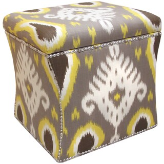 Made To Order Ikat Nail Button Storage Ottoman
