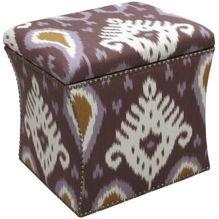 Custom Made Ikat Nail Button Storage Ottoman