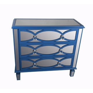 Blue 3-drawer Mirrored Accent Stand