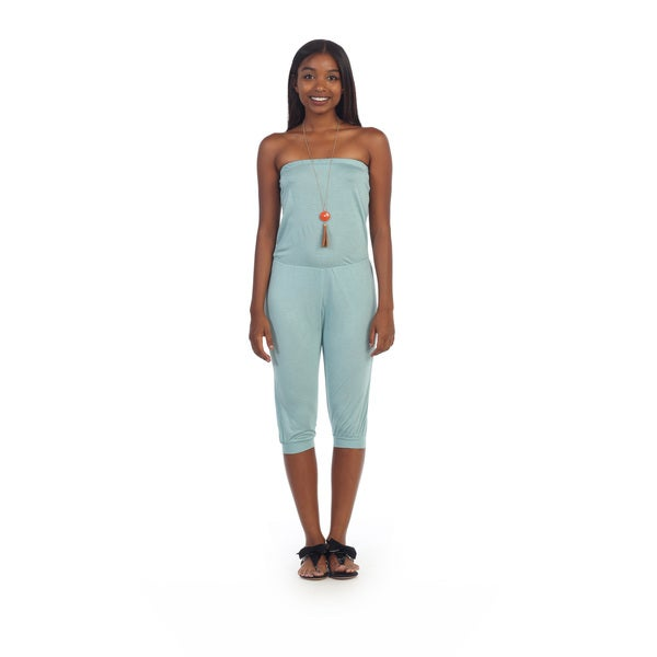 Hadari Women's Light Blue Strapless Jumper