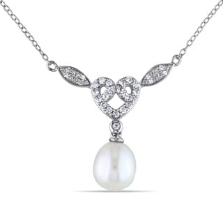 Miadora Sterling Silver Pearl, Created White Sapphire and Diamond Accent Heart Necklace (9-9.5 mm)