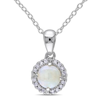 Miadora Sterling Silver Opal and 1/10ct TDW Diamond Halo Necklace (H-I, I2-I3)