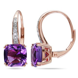 Miadora 10k Rose Gold Amethyst and Diamond Accent Dangle Earrings
