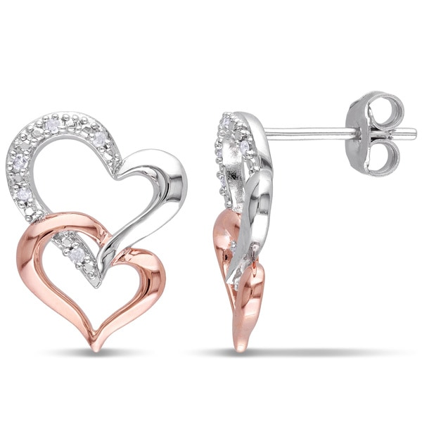 Haylee Jewels Two-tone Silver Diamond Accent Double Heart Earrings
