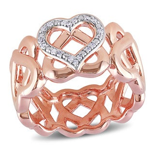 Miadora Rose Plated Silver 1/10ct TDW Diamond Heart Ring (H-I, I2-I3)