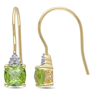 Miadora 10k Yellow Gold Peridot and Diamond Accent Earrings