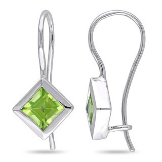 Miadora 10k White Gold Bezel-set Peridot Stud Earrings