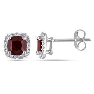 Miadora 10k White Gold Garnet and 1/10ct TDW Diamond Halo Earrings (H-I, I2-I3)