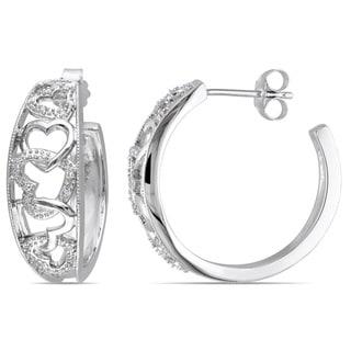 Haylee Jewels Sterling Silver 1/10ct TDW Diamond Heart Hoop Earrings (H-I, I2-I3)