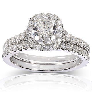 Annello 14k White Gold 1 3/5ct TDW Certified Cushion Diamond Halo Bridal Rings Set (G, SI2)