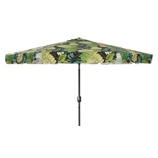 Pillow Perfect Green/ Brown Tropical 9-foot Patio Umbrella