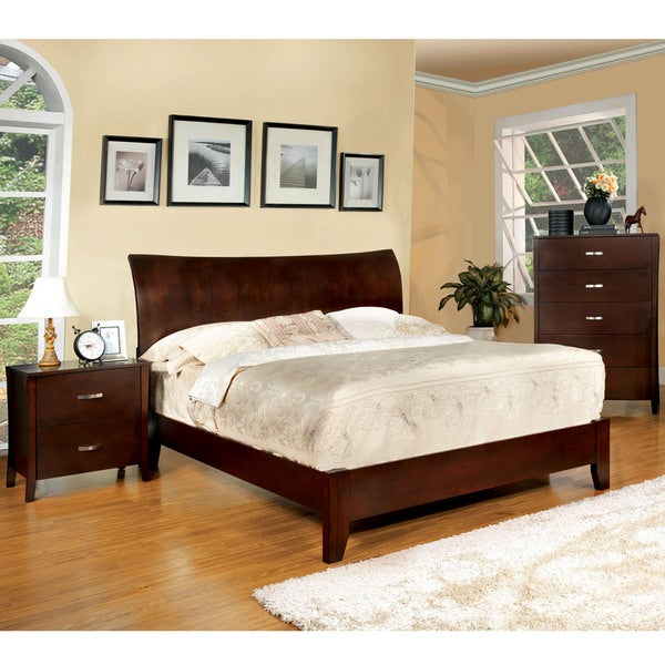 Furniture of america mellowi brown cherry flared platform for Furniture of america bed reviews