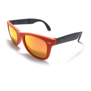 Ray-Ban Wayfarer Folding Classic Sunglasses 50mm - Orange Frame/Orange Mirror Lens